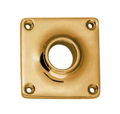Door Handle Rosette - Squared brass, 43 mm