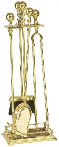 Fire tool set - Knopp brass