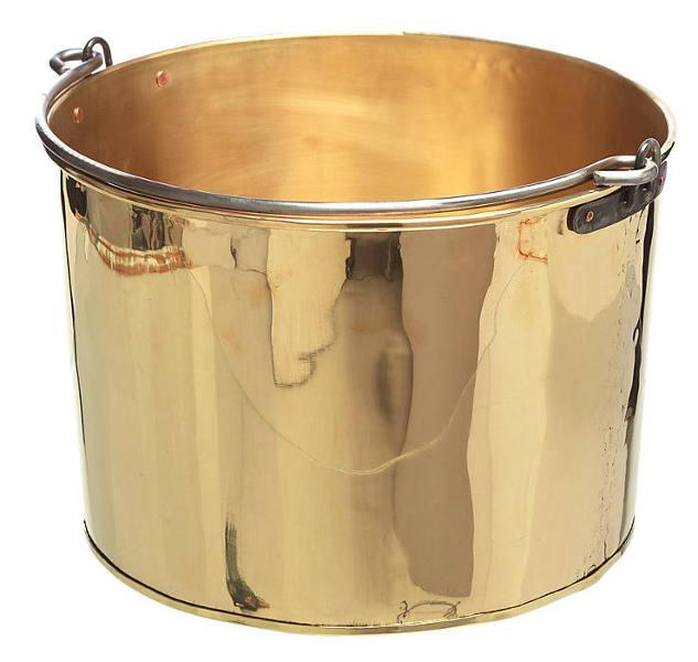 Firewood log bucket - Brass 38 cm