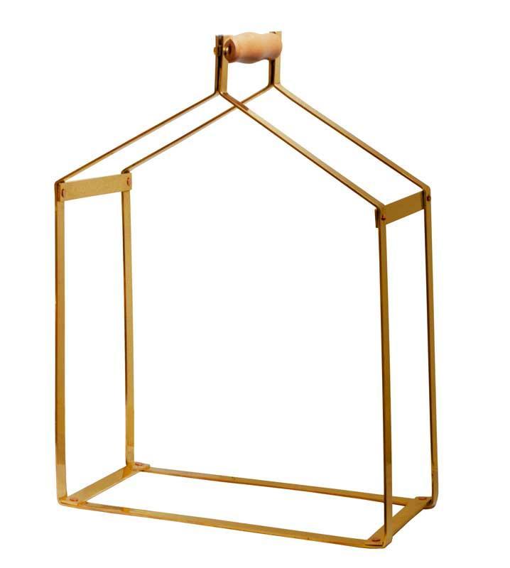 Wood carrier - Brass 51 x 38 x 20 cm
