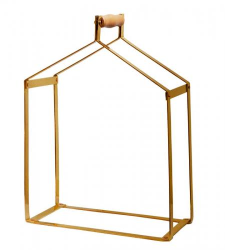 Wood carrier - Brass 51 x 38 x 20 cm