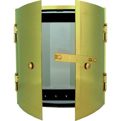 Door kit for round tile oven - Frame, glass door & outer doors in brass