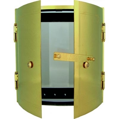 Door kit for round tile oven - Frame, glass door & outer doors in brass