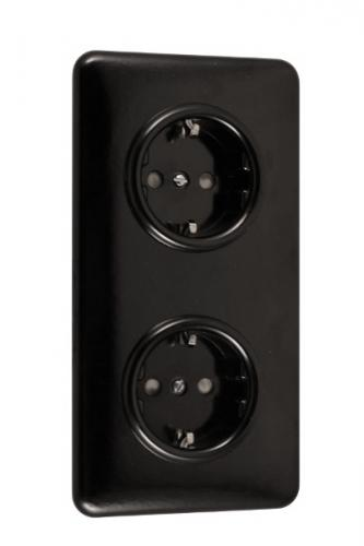 Double outlet - Black bakelite