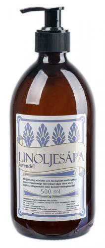 Linoljesåpe - Lavendelduft 0.5 L glassflaske - arvestykke - gammeldags dekor - klassisk stil - retro