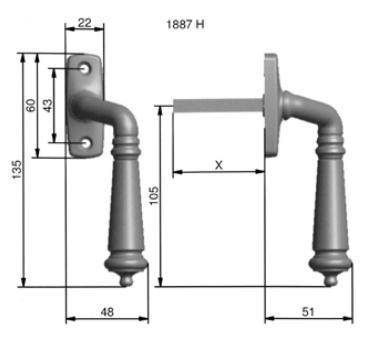Espagnolette handle - Epok 1887 brass