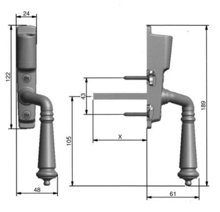 Espagnolette handle - Epok 1887 (F)