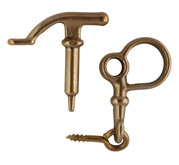 Window lock - Latch with hook, brass