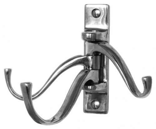 Coat hook - 3-arm swivel hanger nickel