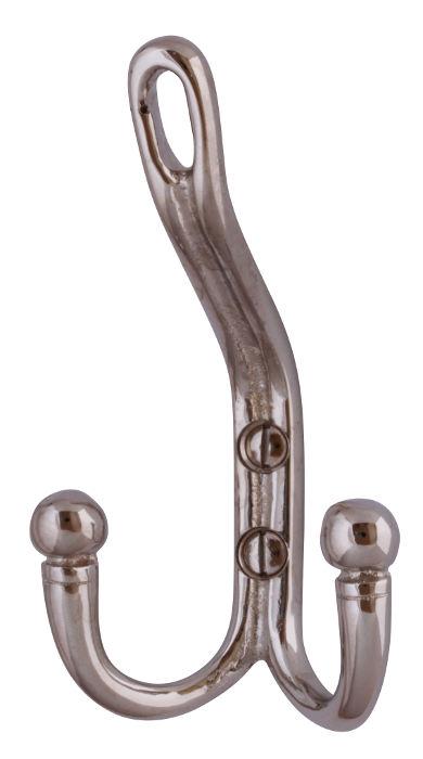 Klädkrok - Dubbel hattkrok nickel - sekelskiftesstil - gammaldags inredning