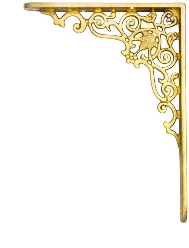 Shelf bracket - Ornament brass 200 x 150 mm