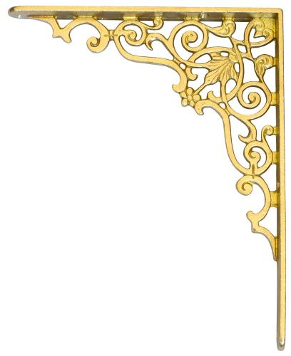 Shelf bracket - Ornament brass 260 x 210 mm