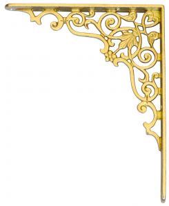 Ornamenterad hyllkonsol i mässing - sekelskifte - gammaldags stil - klassisk inredning - retro
