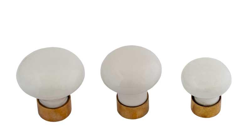 Knob - Porcelain white/brass