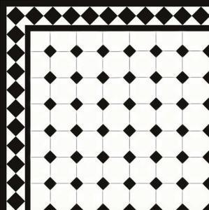 Floor tiles - Octagon 10 x 10 cm white/black