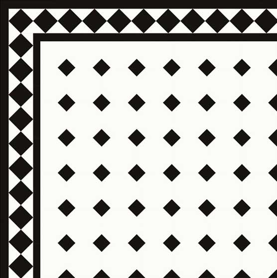 Floor tiles - Octagon 10 x 10 cm white/black