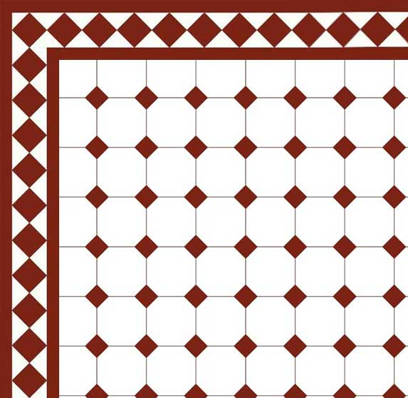Floor tiles - Octagon 10 x 10 cm white/red