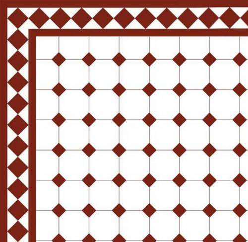 Floor tiles - Octagon 10 x 10 cm white/red