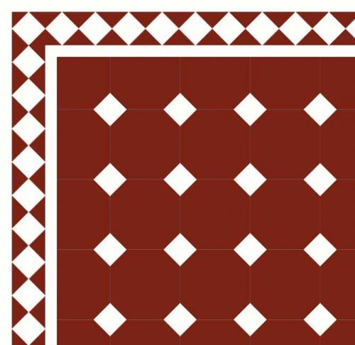 Floor tiles - Octagon 15 x 15 cm red/white