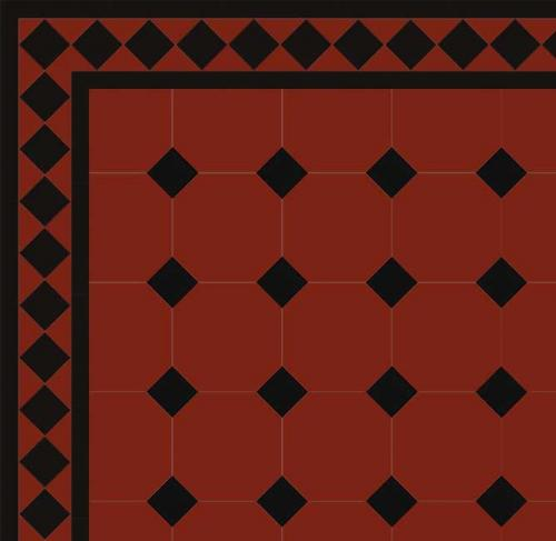 Floor tiles - Octagon 15 x 15 cm red/black