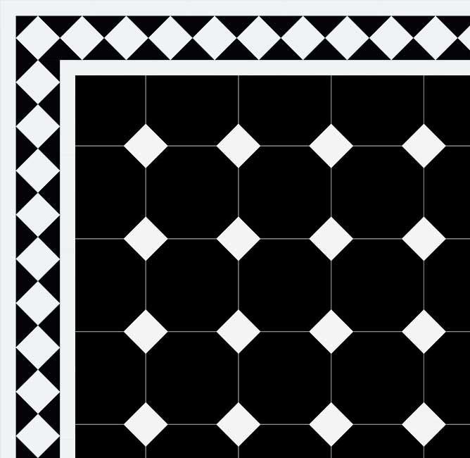 Klassiskt Oktagonklinker - 15x15 cm svart/vit Winckelmans - Victorian floor tiles