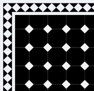 Classic Vicotiran Floor tiles - Octagon 15 x 15 cm black/white - Winckelmans