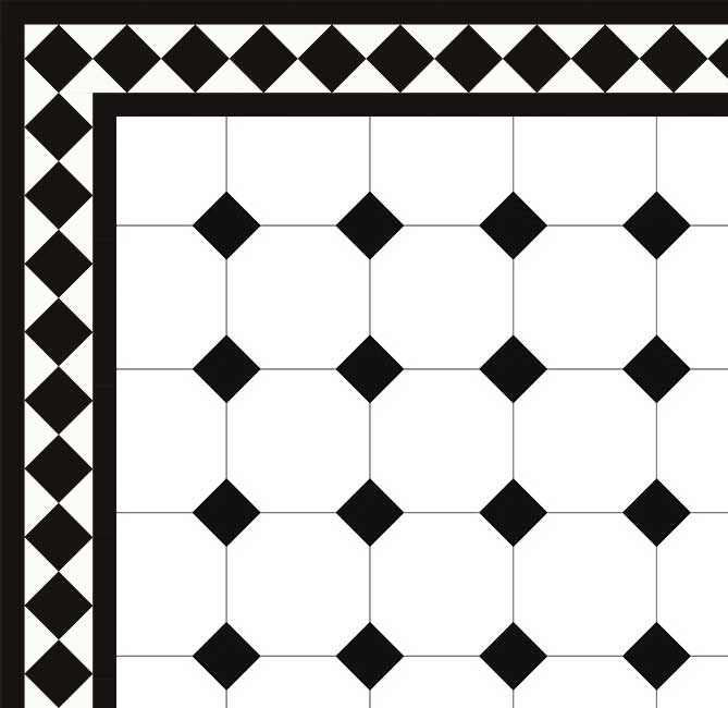 Klassiskt Oktagonklinker - 15x15 cm vit/svart Winckelmans - Victorian floor tiles