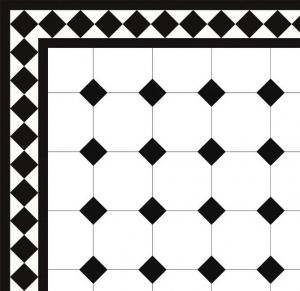 Floor tiles - Octagon 15 x 15 cm white/black