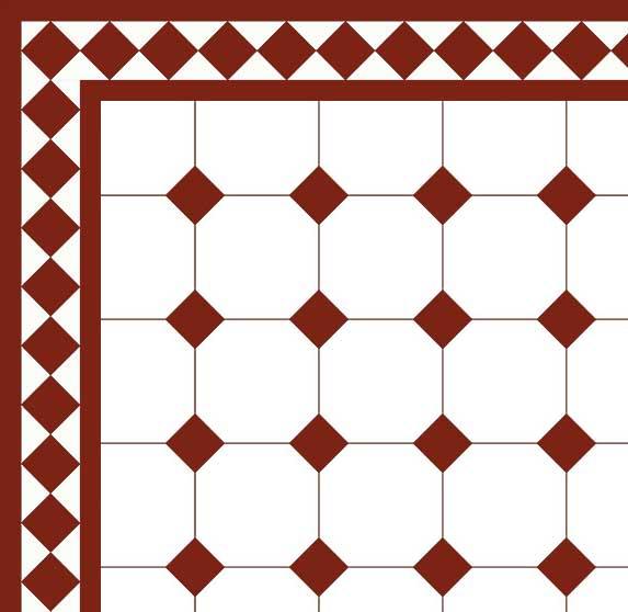 Klassiskt Oktagonklinker - 15x15 cm vit/röd Winckelmans - Vicotrian floor tiles