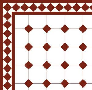 Floor tiles - Octagon 15 x 15 cm white/red