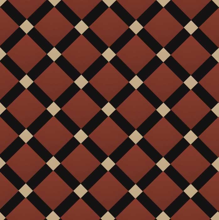 Canterbury - Victorian floor tiles - Röd/svart/cognac