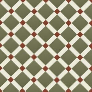 Canterbury - Victorian floor tiles - Australian green/vit/röd