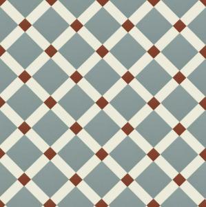 Canterbury - Victorian floor tiles - Gråblå/vit/röd