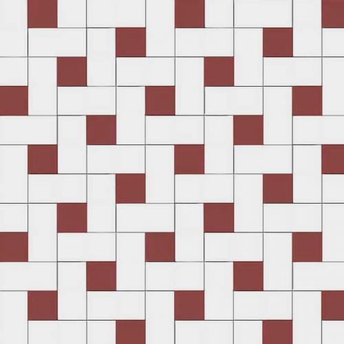 Winchester - Victorian floor tiles - Vit/Röd