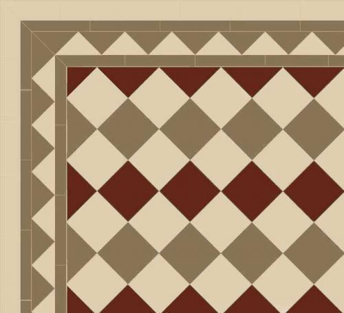 Birmingham - Victorian floor tiles - 15 x 15 cm Linne/mullvadsgrå/röd