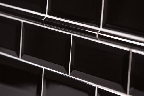 Tile Victoria - Decorative strip 1.7 x 15 cm black, glossy
