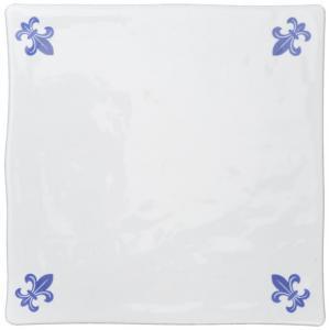 Tiles - White 13 x 13 cm shiny, dented lily