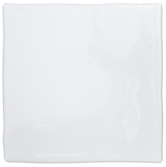 Tiles - White 13 x 13 cm shiny, dented