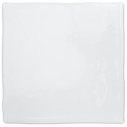 Tiles - White 13 x 13 cm shiny, dented