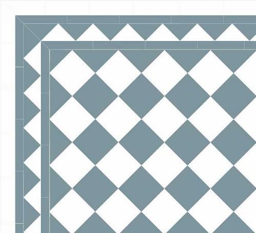 Granitklinker - Schackrutigt 15 x 15 cm ljusblå/vit