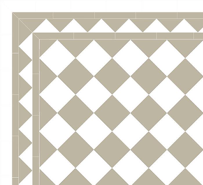Granitklinker - Schackrutigt 15 x 15 cm pärlgrå/vit - sekelskiftesstil - gammaldags inredning - klassisk stil - retro