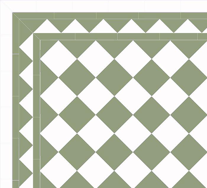 Floor tiles - 15 x 15 cm pale green/white Winckelmans
