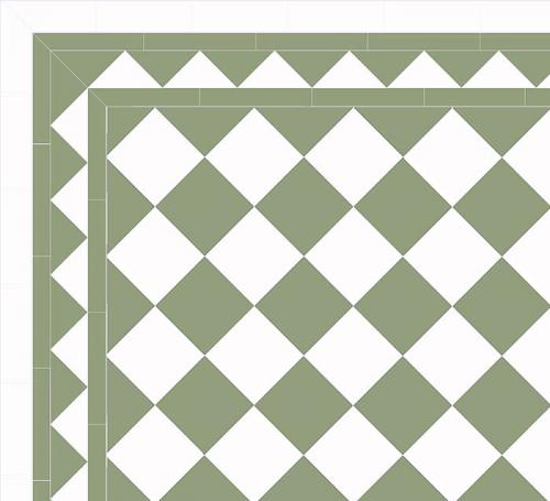 Floor tiles - 15 x 15 cm pale green/white Winckelmans