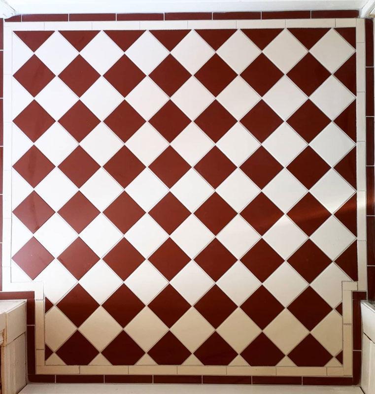 Granitklinker - Schackrutigt 10 x 10 cm röd/vit - sekelskiftesstil - gammaldags inredning - klassisk stil - retro