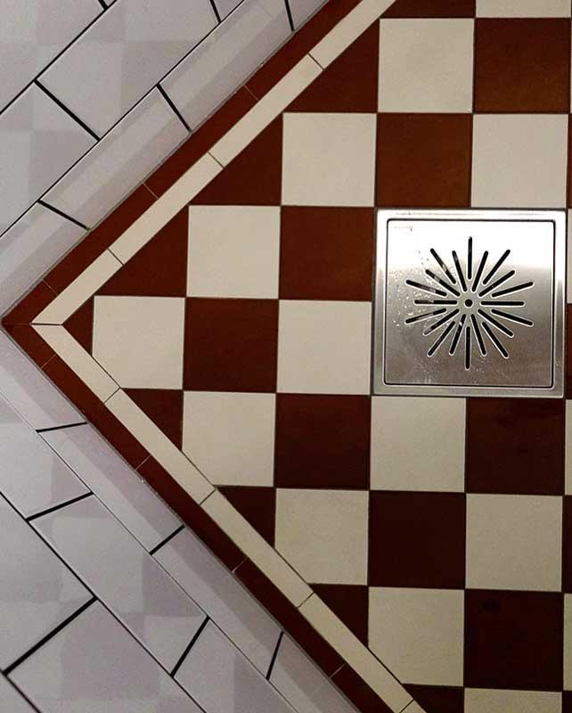 Granitklinker - Schackrutigt 10 x 10 cm röd/vit - gammaldags inredning - klassisk stil - retro - sekelskifte