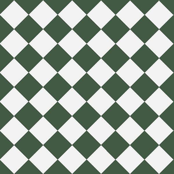 Granitklinker - Schackrutigt 10 x 10 cm mörkgrön/vit - sekelskiftesstil - gammaldags inredning - klassisk stil - retro