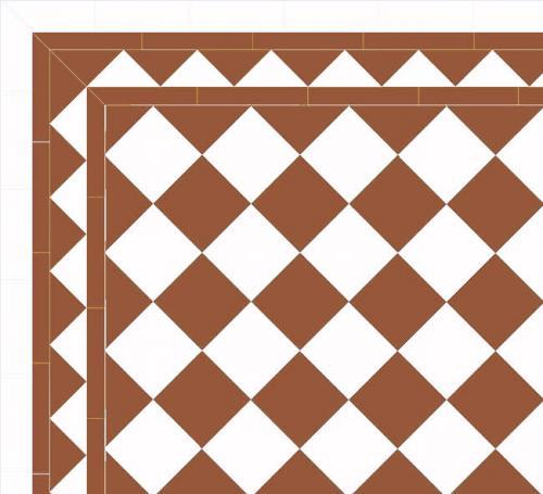 Granitklinker - Schackrutigt 15 x 15 cm havana/vit Winckelmans - sekelskiftesstil - gammaldags inredning - klassisk stil - retro