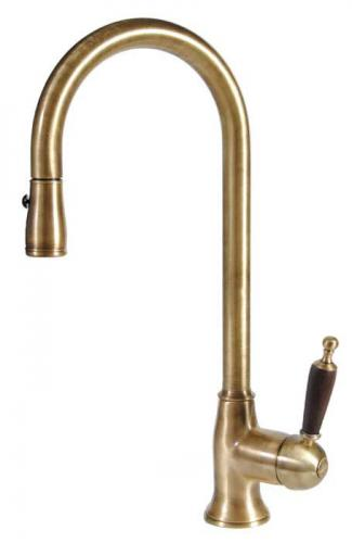 Kitchen mixer - Oxford bronze with wood handle & hand shower