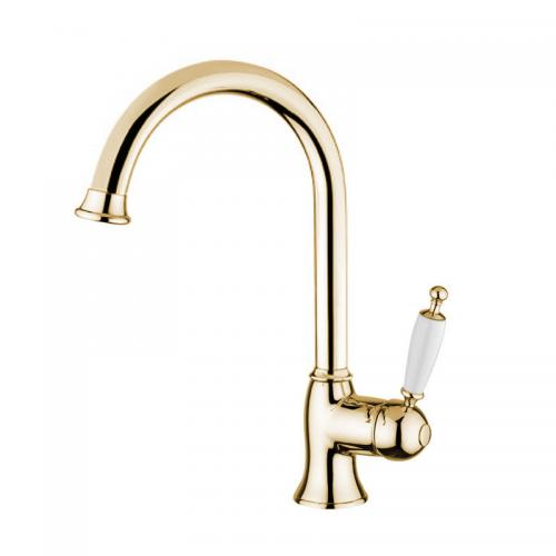 Kitchen mixer - Oxford gooseneck brass