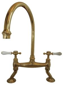 Kitchen Mixer - Horus Victoria swan neck brass - old fashioned style - retro - vintage